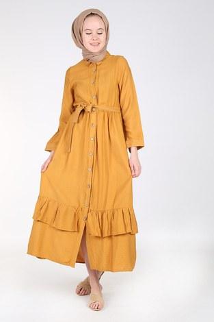- Boydan Düğmeli Büzgülü Elbise 157901-3 Hardal