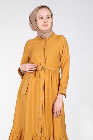 - Boydan Düğmeli Büzgülü Elbise 157901-3 Hardal (1)