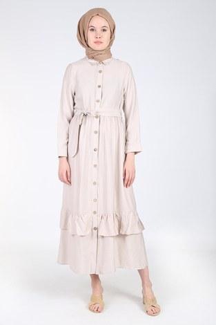 - Boydan Düğmeli Büzgülü Elbise 157901-4 Bej