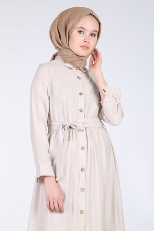 - Boydan Düğmeli Büzgülü Elbise 157901-4 Bej (1)