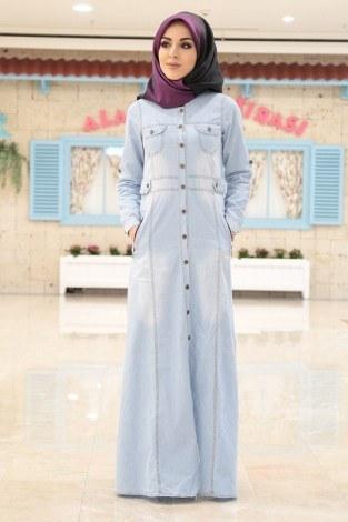 - Boydan Düğmeli Cepli Kot Gömlek Elbise A.Mavi 8965-2