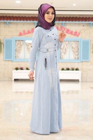 - Boydan Düğmeli Cepli Kot Gömlek Elbise A.Mavi 8965-2 (1)