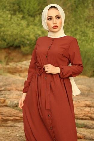 - Boydan Düğmeli Elbise 2868-1 Kiremit (1)