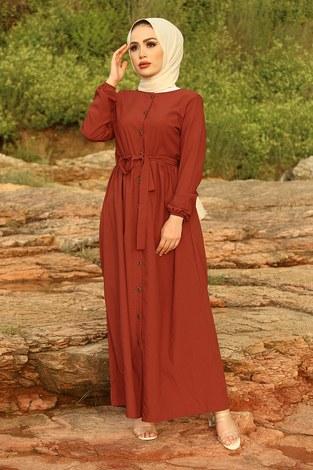 - Boydan Düğmeli Elbise 2868-1 Kiremit
