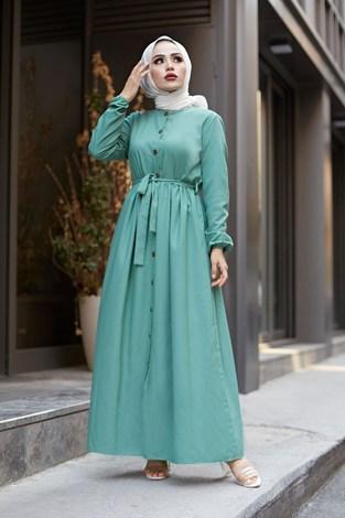 - Boydan Düğmeli Elbise 2868-20 Yeşil