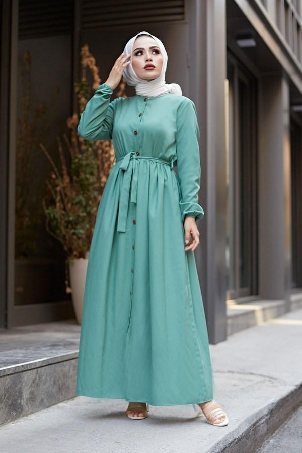 Boydan Düğmeli Elbise 2868-20 Yeşil