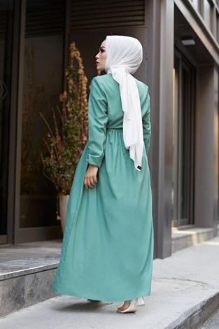 Boydan Düğmeli Elbise 2868-20 Yeşil - Thumbnail