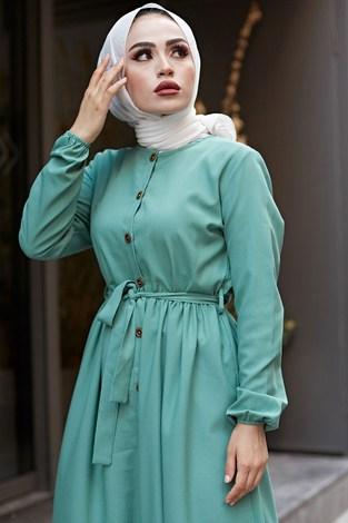 - Boydan Düğmeli Elbise 2868-20 Yeşil (1)