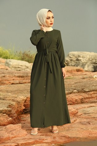 - Boydan Düğmeli Elbise 2868-3 Haki