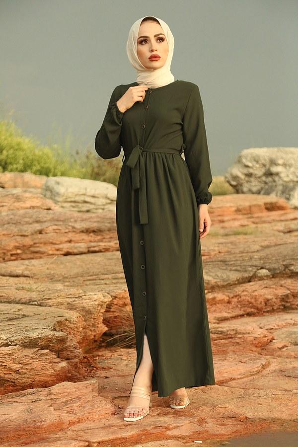 Boydan Düğmeli Elbise 2868-3 Haki