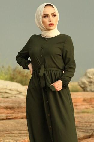 - Boydan Düğmeli Elbise 2868-3 Haki (1)