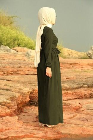 Boydan Düğmeli Elbise 2868-3 Haki - Thumbnail