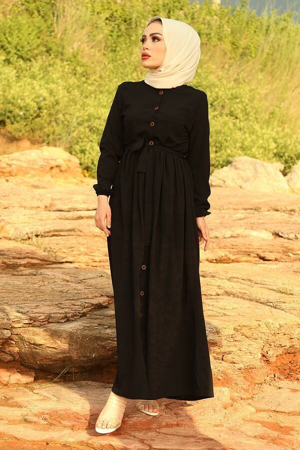 Boydan Düğmeli Elbise 2868-4 Siyah