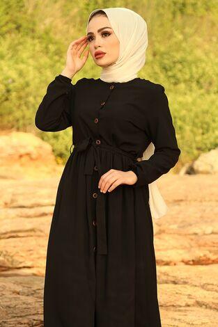 - Boydan Düğmeli Elbise 2868-4 Siyah (1)