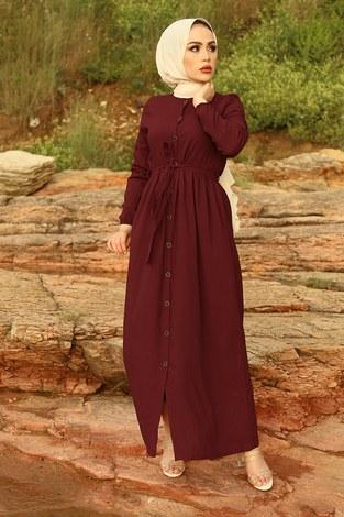 - Boydan Düğmeli Elbise 2868-5 Bordo