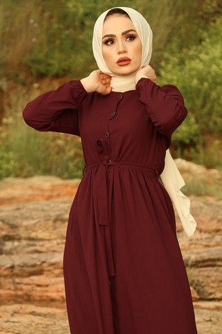 - Boydan Düğmeli Elbise 2868-5 Bordo (1)