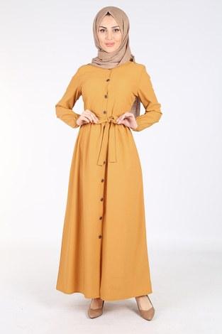 - Boydan Düğmeli Elbise 2868-6-Sarı