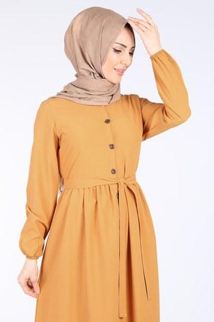 - Boydan Düğmeli Elbise 2868-6-Sarı (1)