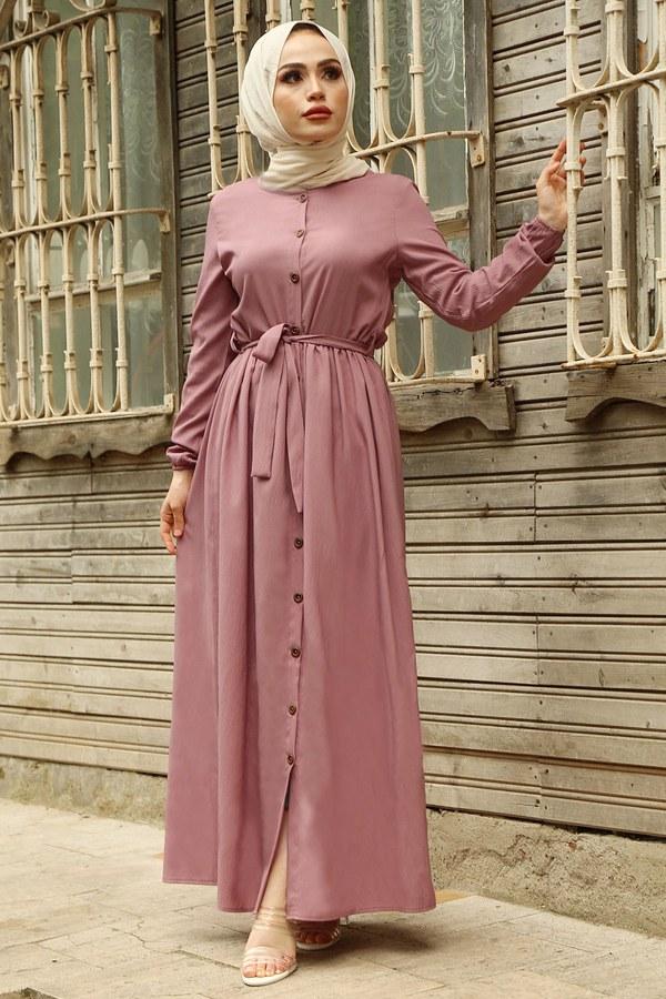 Boydan Düğmeli Elbise 2868-8 GülK.