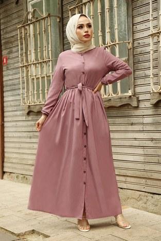 Boydan Düğmeli Elbise 2868-8 GülK. - Thumbnail