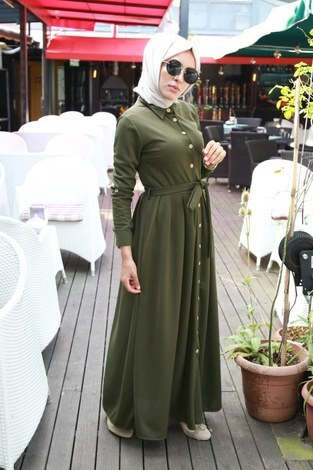 Boydan Düğmeli Elbise 87781-02 - Thumbnail