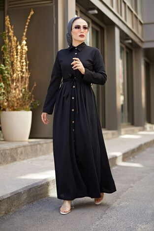Boydan Düğmeli Elbise 87781-01 Siyah - Thumbnail