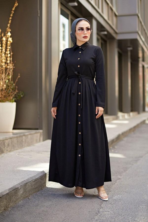 Boydan Düğmeli Elbise 87781-01 Siyah