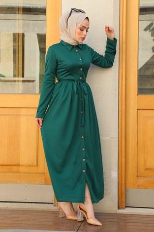 Boydan Düğmeli Elbise 87781-013 Z.Yeşil - Thumbnail