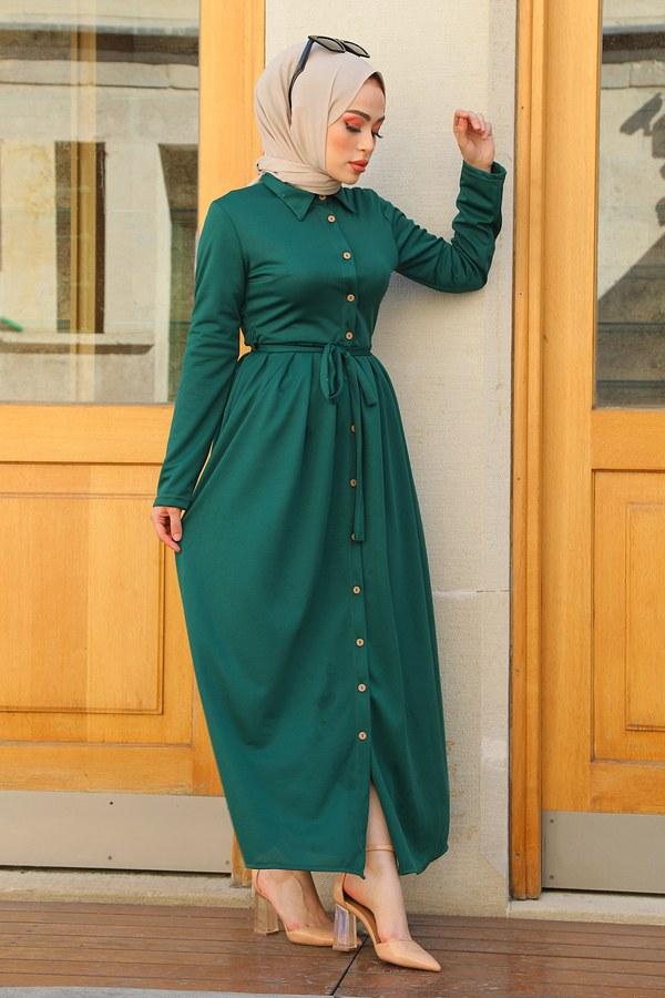 Boydan Düğmeli Elbise 87781-013 Z.Yeşil
