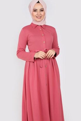 Boydan Düğmeli Elbise 87781-07 - Thumbnail