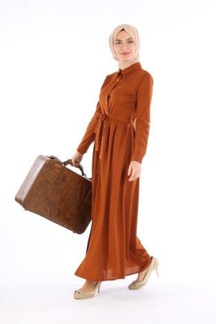 - Boydan Düğmeli Elbise 87781-08