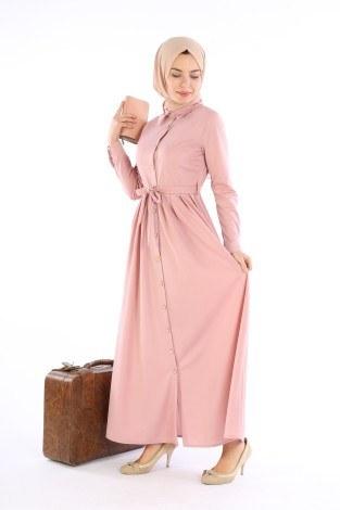 Boydan Düğmeli Elbise 87781-09 - Thumbnail