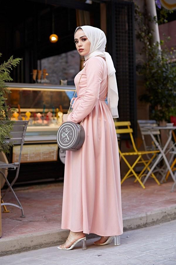 Boydan Düğmeli Elbise 87781-14 Pudra