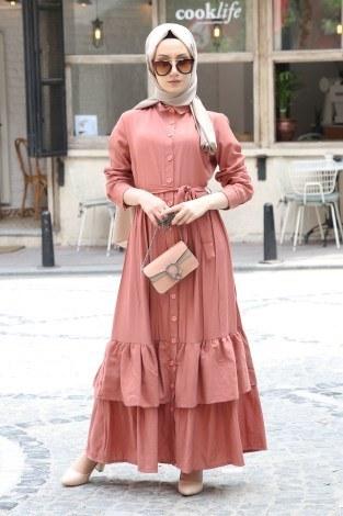 - Boydan Düğmeli Etekleri Fırfır Elbise 2097-04