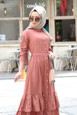 - Boydan Düğmeli Etekleri Fırfır Elbise 2097-04 (1)