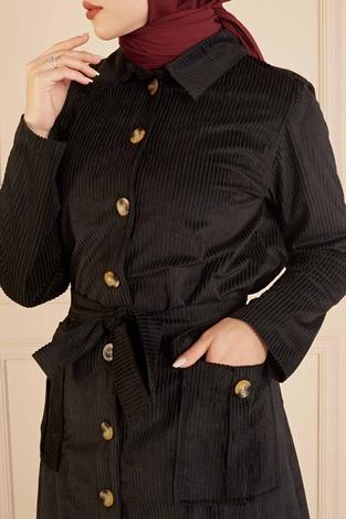 Boydan Düğmeli Kadife Tunik 490FC9025 Siyah - Thumbnail