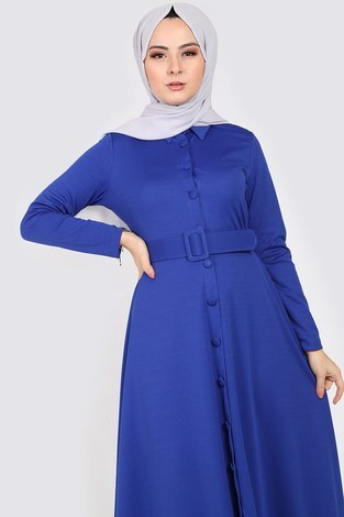 - Boydan Düğmeli Kemerli Elbise 7123-6 (1)