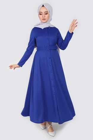 - Boydan Düğmeli Kemerli Elbise 7123-6