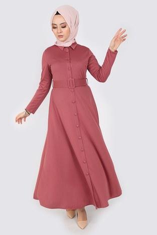 - Boydan Düğmeli Kemerli Elbise 7123-7
