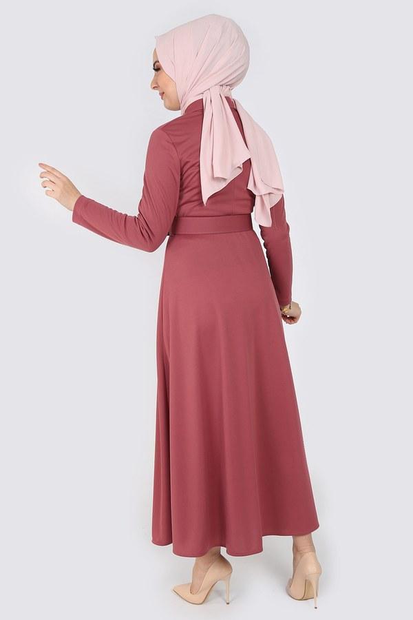 Boydan Düğmeli Kemerli Elbise 7123-7