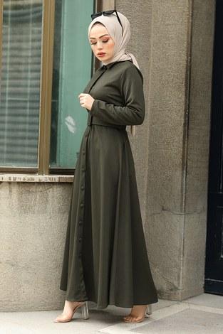 - Boydan Düğmeli Kemerli Elbise 7123-10