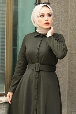 - Boydan Düğmeli Kemerli Elbise 7123-10 (1)