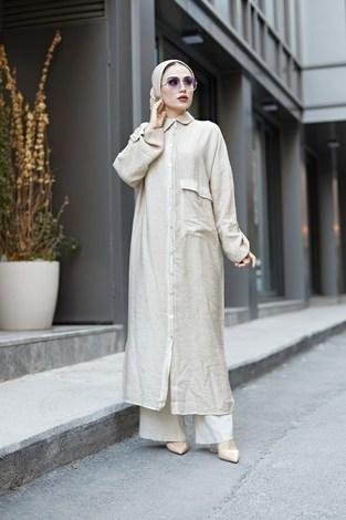 - Boydan Düğmeli Salaş Elbise 9777-1 Taş