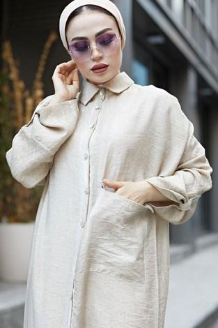 - Boydan Düğmeli Salaş Elbise 9777-1 Taş (1)