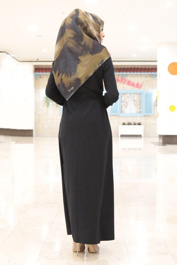 Boydan Fermuarlı Cepli Siyah Ferace Pardesü 8690-5