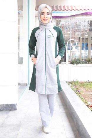 - Boydan Fermuarlı Yeşil-Gri Eşofman Takımı 15018-6 (1)