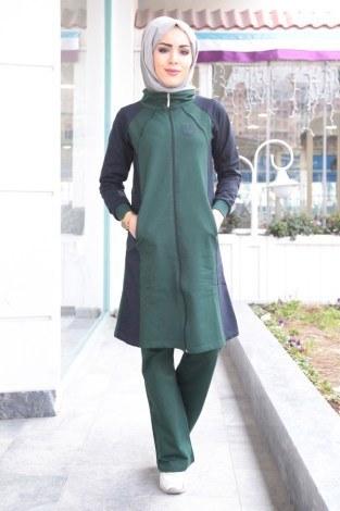 - Boydan Fermuarlı Yeşil-Lacivert Eşofman Takımı 15018-1 (1)