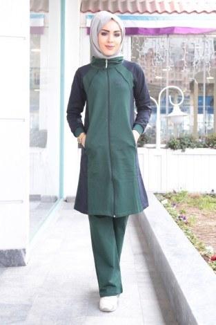 - Boydan Fermuarlı Yeşil-Lacivert Eşofman Takımı 15018-1