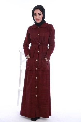 - Boydan Tahta Düğmeli Elbise 6615-02
