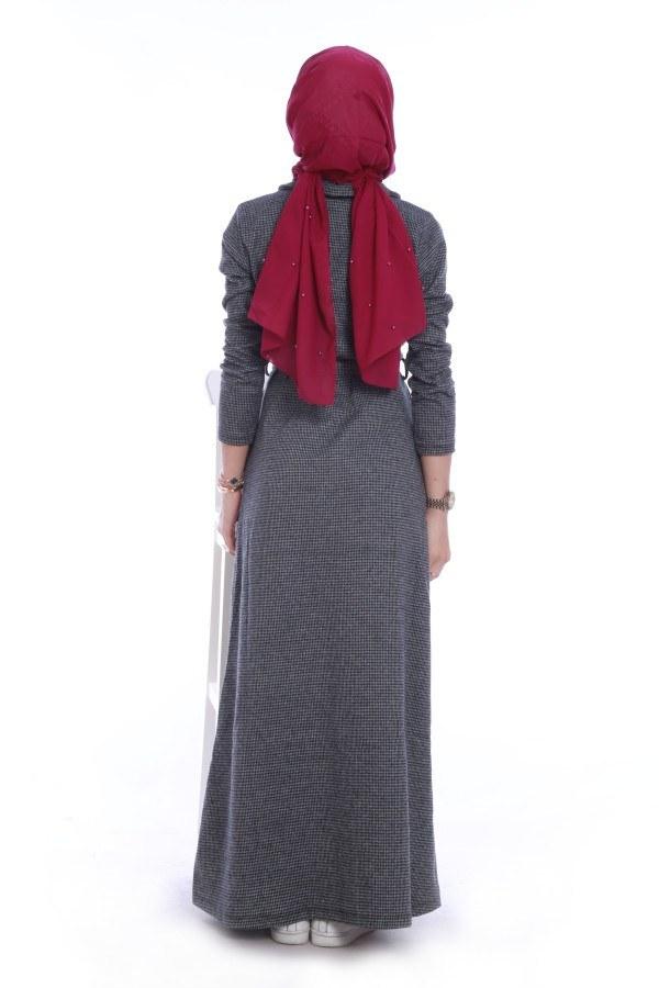 Boydan Tahta Düğmeli Elbise 6615-03
